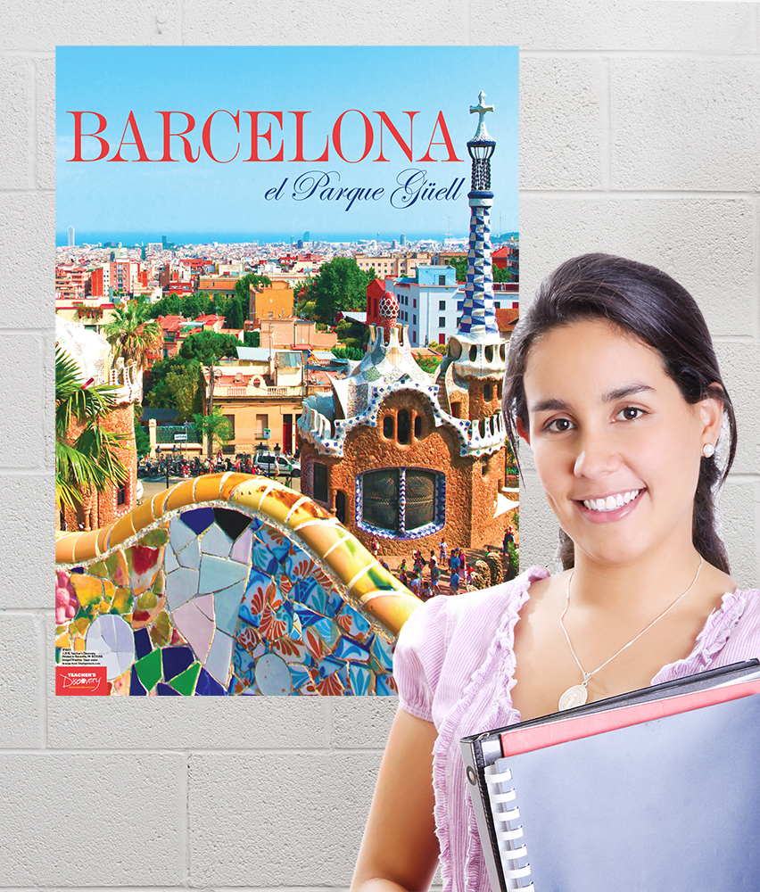 Barcelona spanish travel poster spanish teacher 39 s discovery for Farcical webster