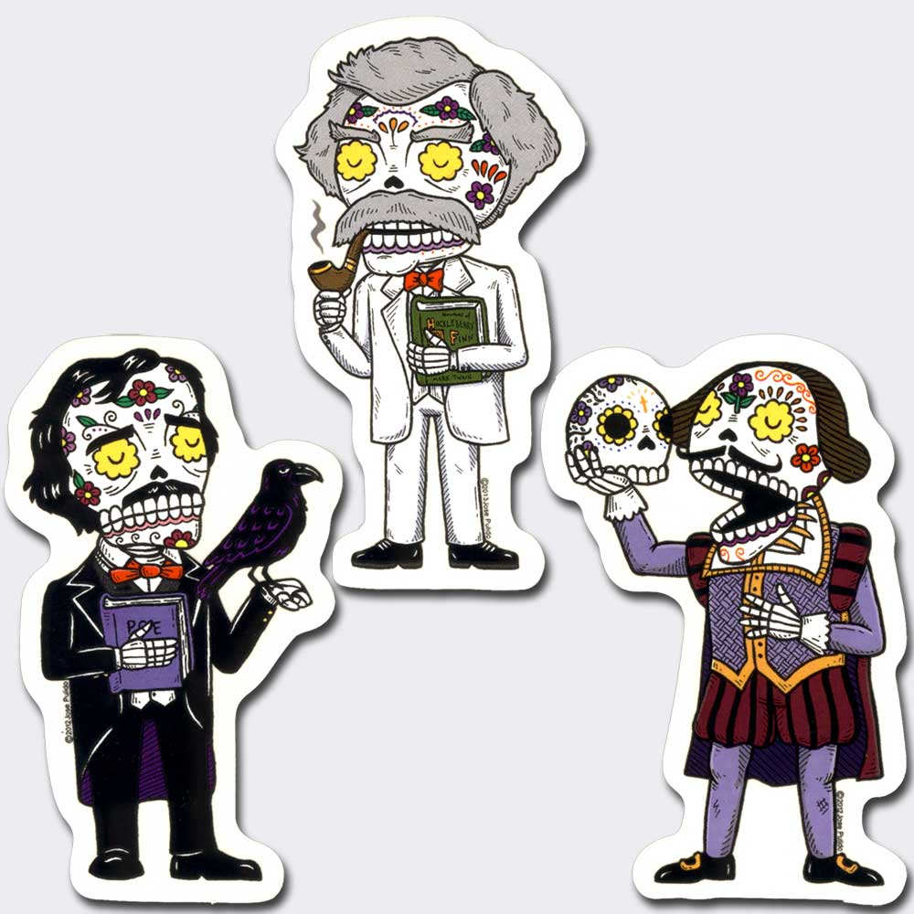 Famous Authors Day of the Dead Vinyl Sticker Set of 3