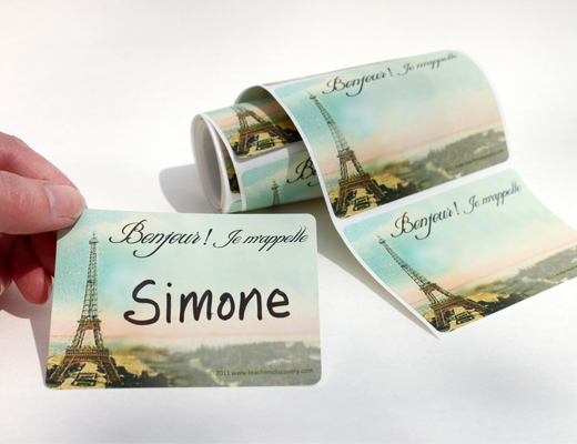 Eiffel Tower French Nametags Set of 36