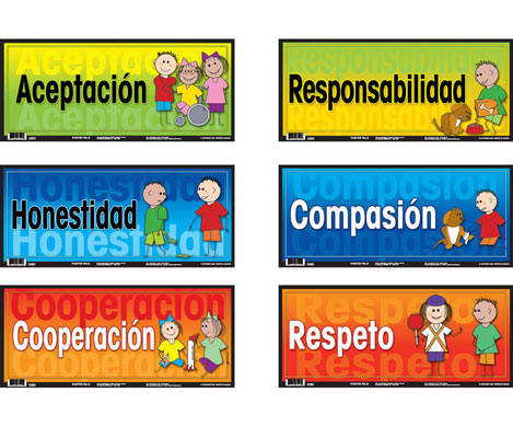 Social Values Spanish Door Signs Set of 6