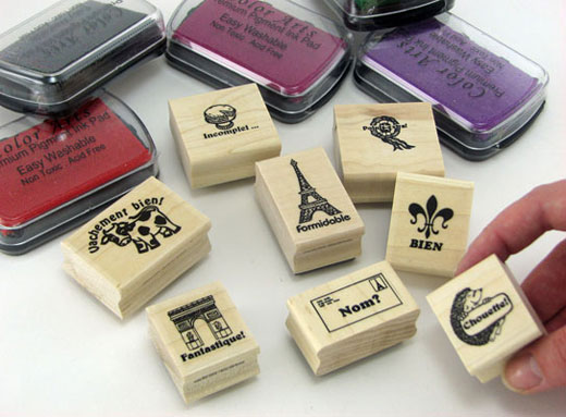 French Stamps Set of 8 Plus 5 Ink Pads