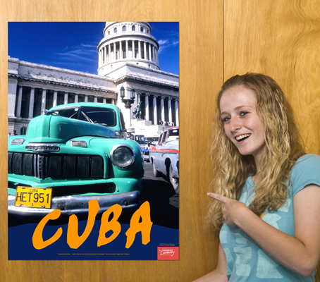 Capitol and car cuba travel poster spanish teacher 39 s for Free travel posters for teachers