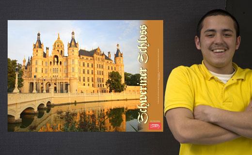 Schloss Schweriner German Travel Poster