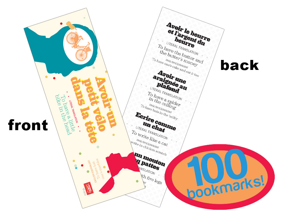 Funny Idioms French Bookmarks (100)