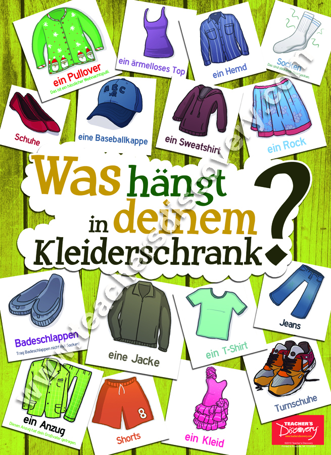 Clothing Vocabulary German Poster