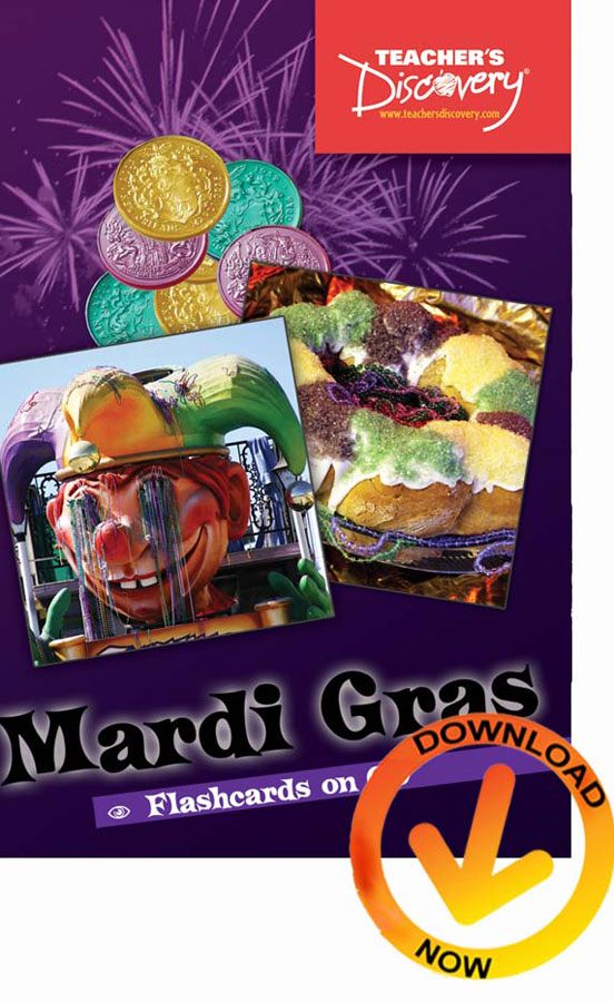 Mardi Gras Flash Cards Downloadable