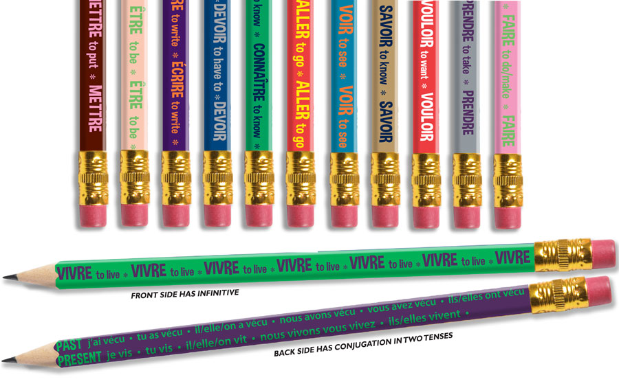 Irregular Verbs-  Conjugated! French Pencils - Box of 144