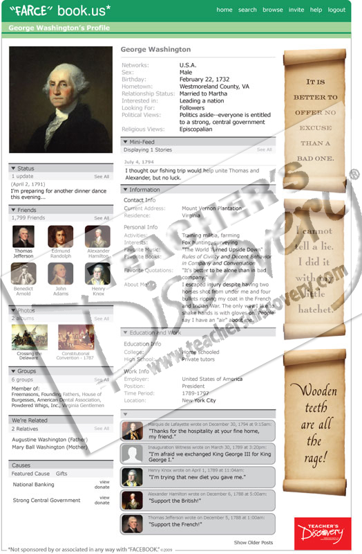 "George Washington ""Farce"" book Poster"