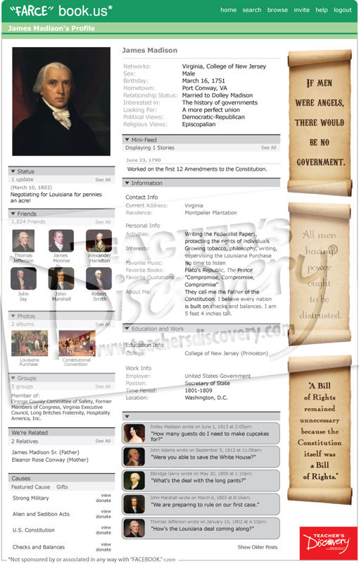 James madison farce book poster social studies teacher 39 s for Farcical webster