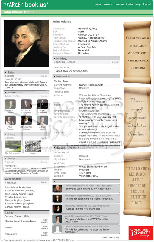 John adams farce book poster farcebook u s history for Farce in english