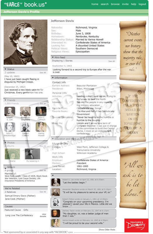 Jefferson davis farce book poster social studies teacher for Farce in english