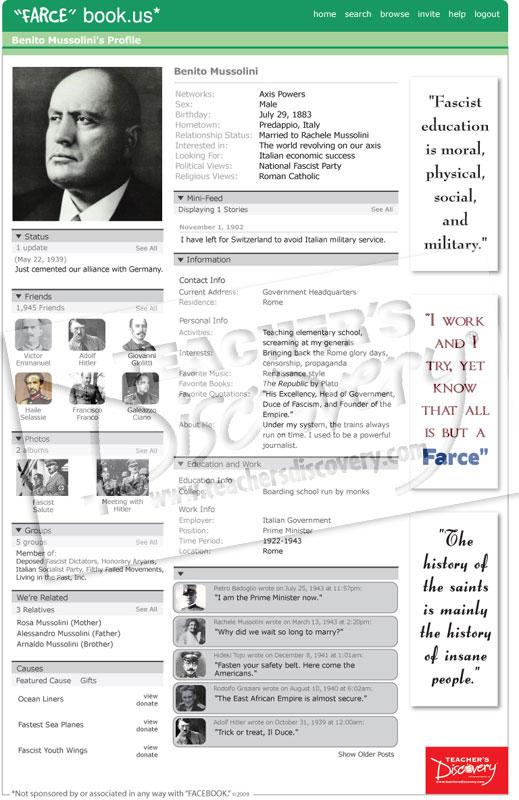 """Benito Mussolini """"Farce"""" book Poster"""