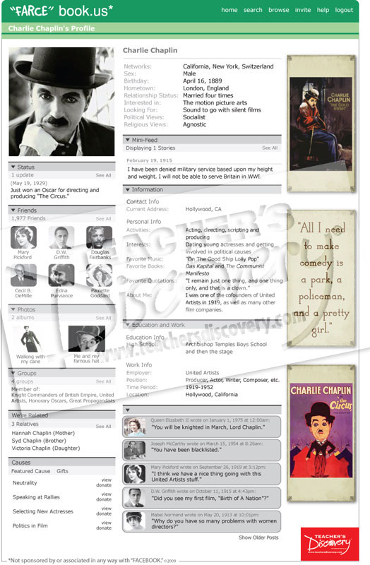Charlie chaplin farce book profile poster u s history for Farcical webster