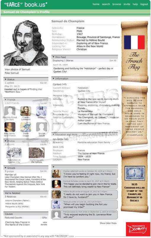 Samuel de champlain farce book poster world history for Farcical webster