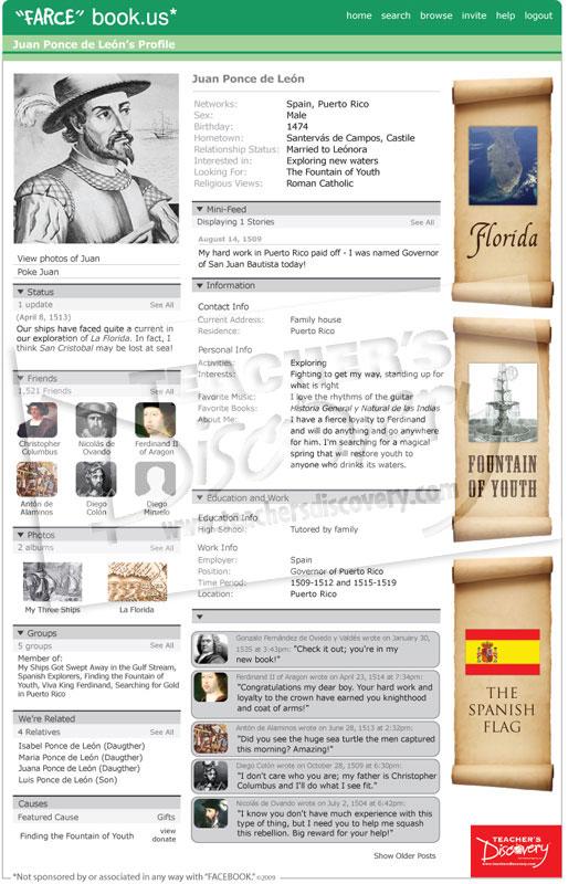 Juan ponce de leon farce book poster social studies for Farcical webster