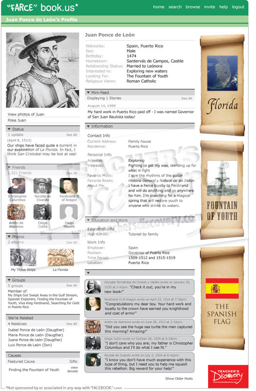 "Juan Ponce De Leon ""Farce"" book Poster"