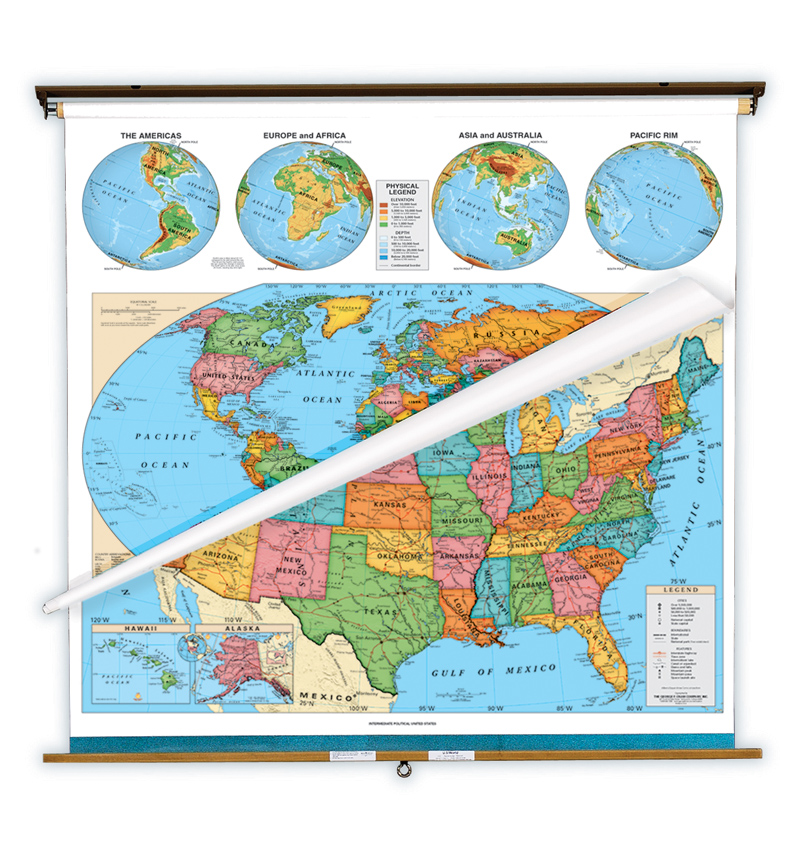 World and U.S. Political Map Set on Multi-Roller