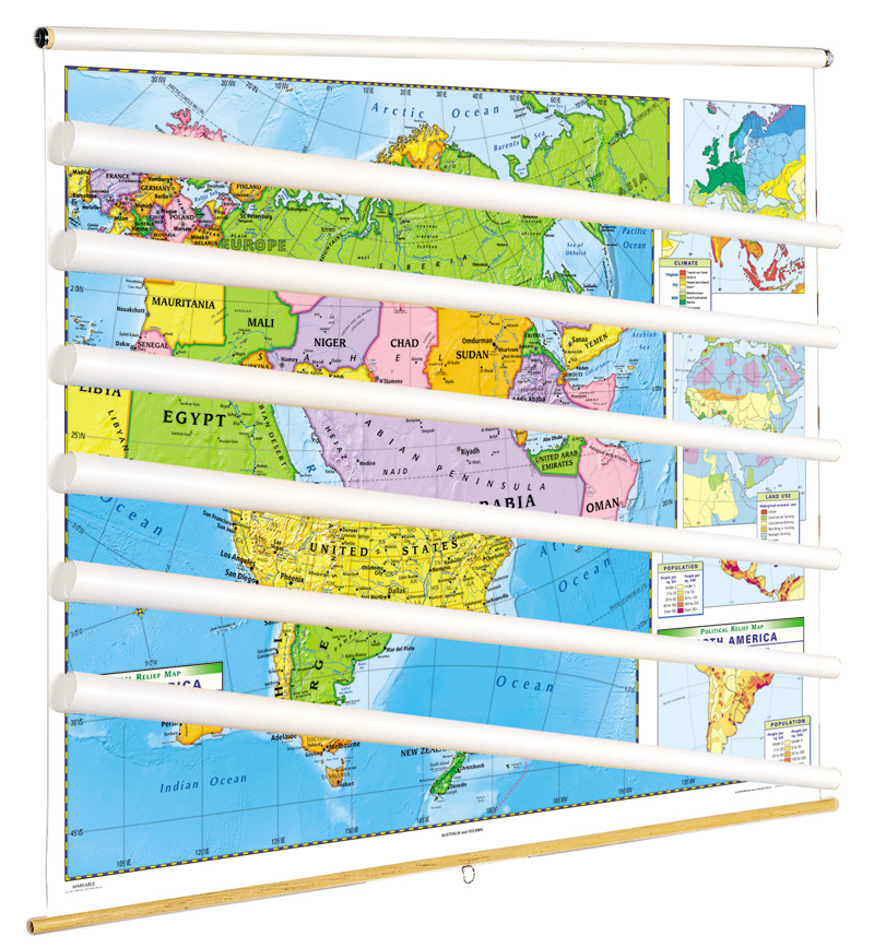 Land Cover Continent Political Map Set of 7 on Multi-Roller