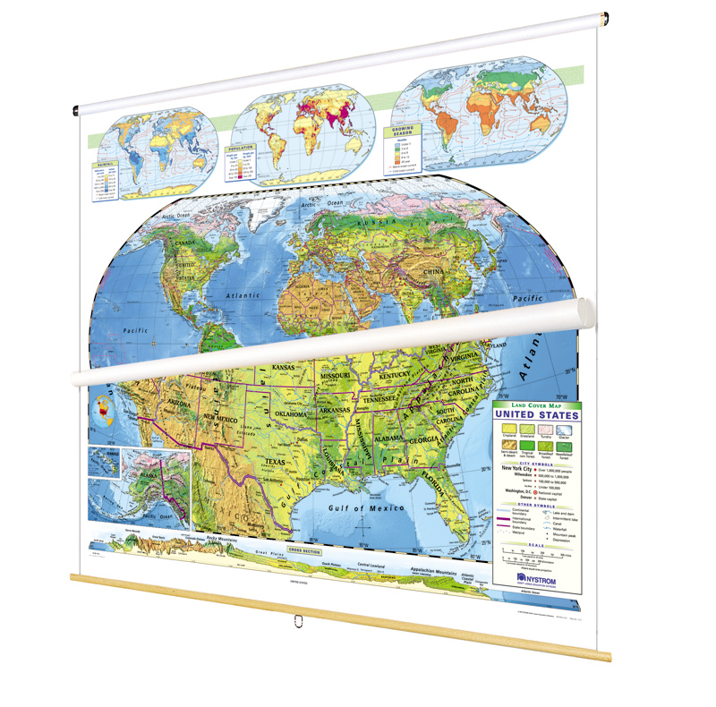 World and U.S. Physical Map Set on Multi-Roller