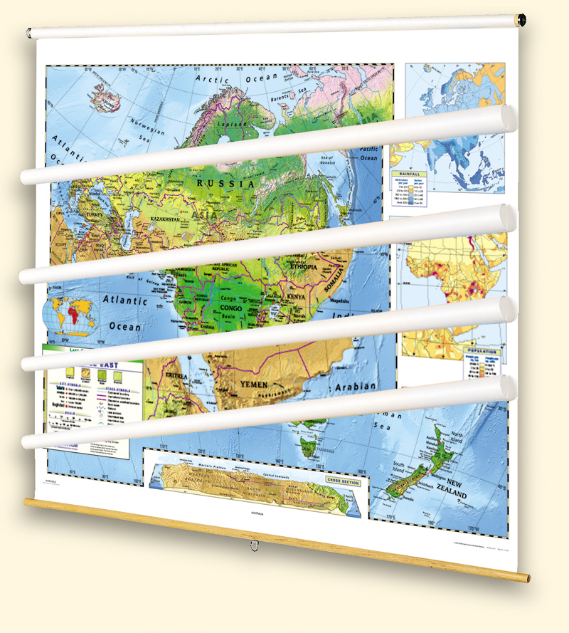 Land Cover Continent Physical Map Set of 5 on Multi-Roller