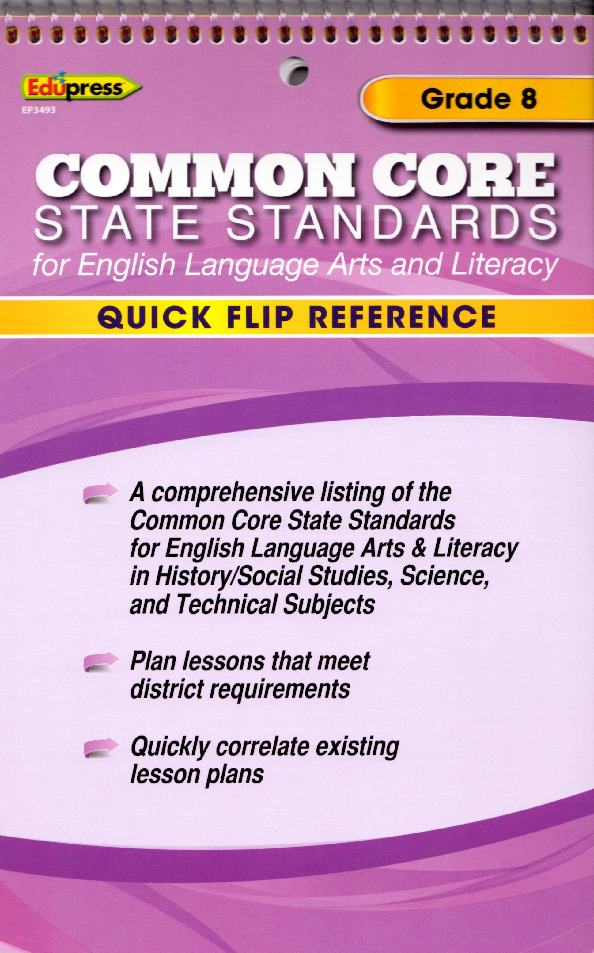 Quick Flip Common Core Reference Tool ~ Grade 8