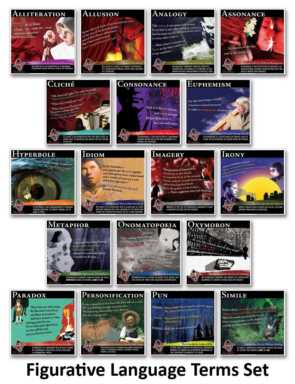 Novel Guide Figurative Language Mini-Poster Set - Novel Guide Figurative Language Mini-Poster Set of 18 Print Posters
