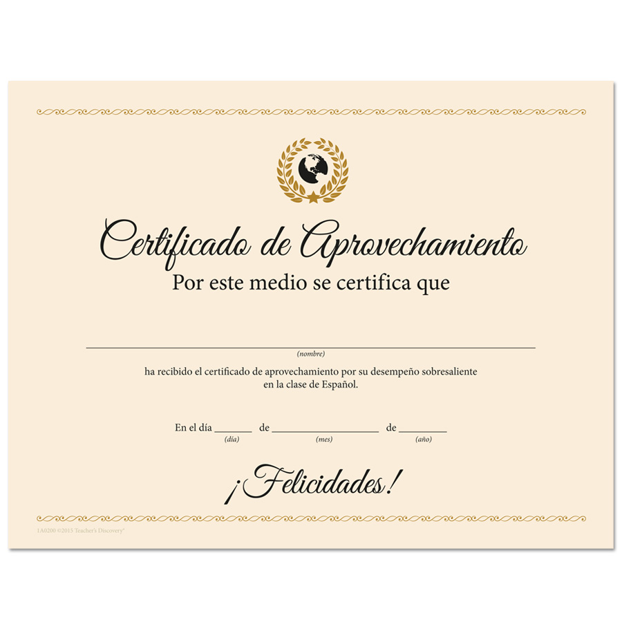 Deluxe spanish award certificates spanish teachers discovery deluxe spanish award certificates 1betcityfo Gallery