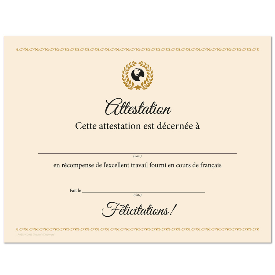 Deluxe French Award Certificates