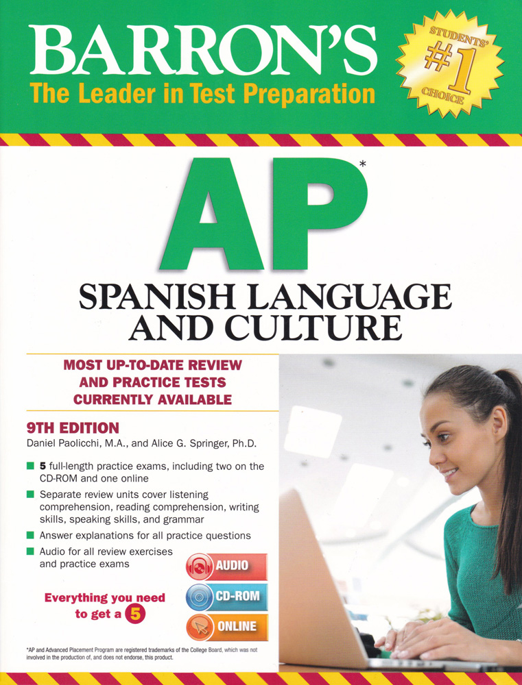 Barron's AP Spanish 8th Edition Book, Audio CD and CD-ROM