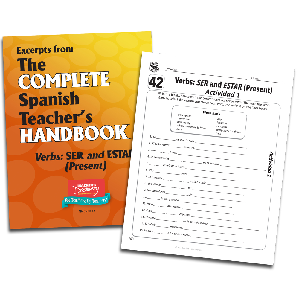 photograph regarding Ser Vs. Estar Worksheet Printable named Verbs: SER and ESTAR (Demonstrate) - Spanish - Guide Excerpt