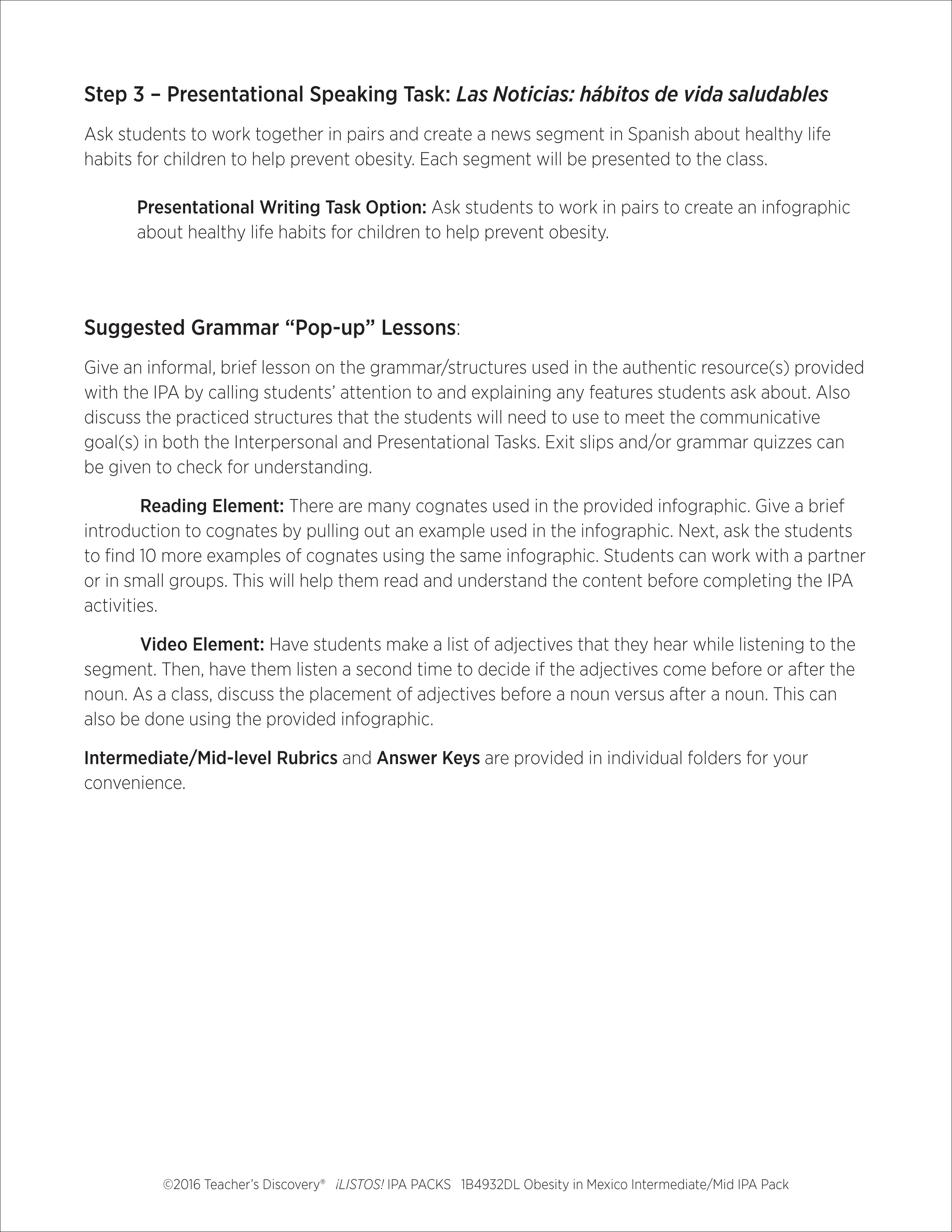 worksheet Spanish Cognates Worksheet obesity in mexico intermediate low spanish ipa pack download enlarge image