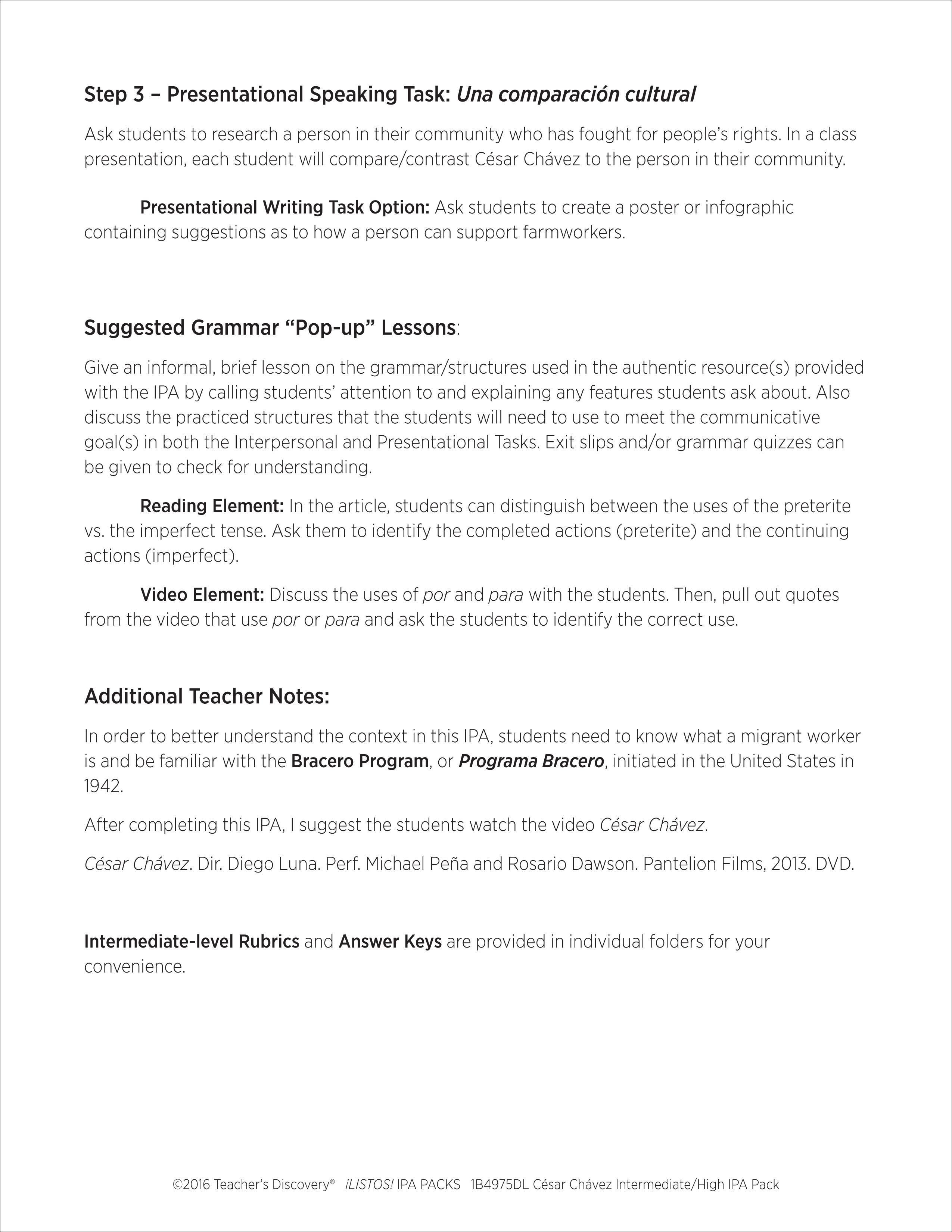 Worksheets Preterite Vs Imperfect Worksheet cesar chavez intermediate high spanish ipa pack download enlarge image
