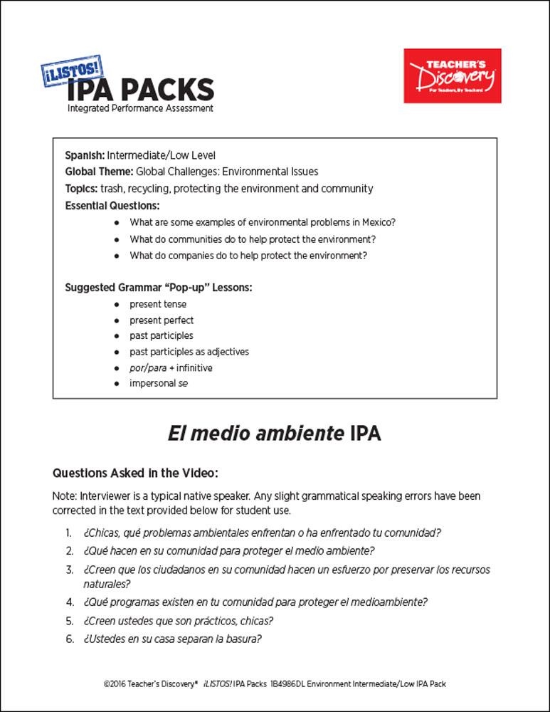 Environment Intermediate-Low Spanish IPA Pack Download