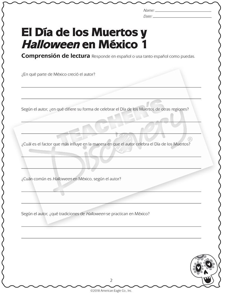 El Día de los Muertos y Halloween en México Activity Packet Download. 1B6413ADL