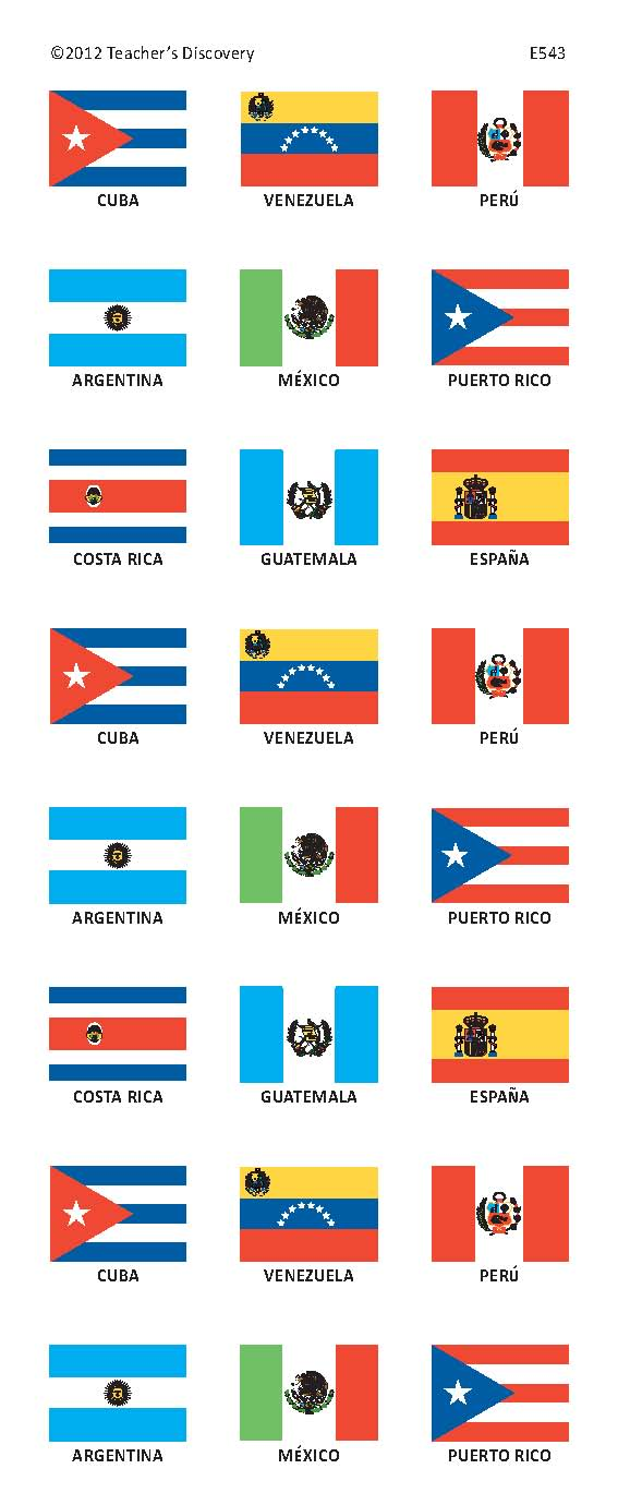 Spanish Speaking Countries Flag Stickers