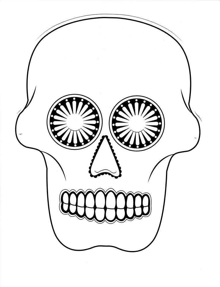 Color-Me Sugar Skull Masks Pack of 24