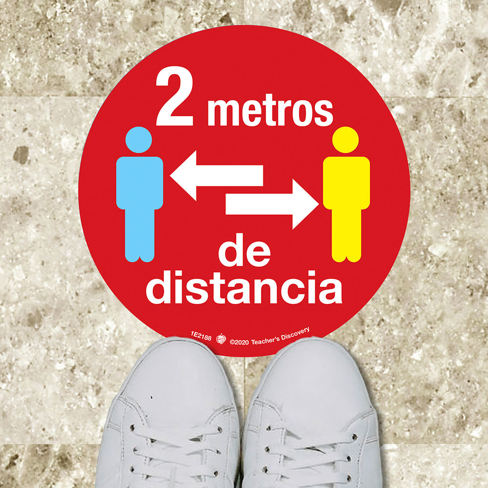 Social Distance Floor Sticker - Set of 8 Stickers in SPANISH
