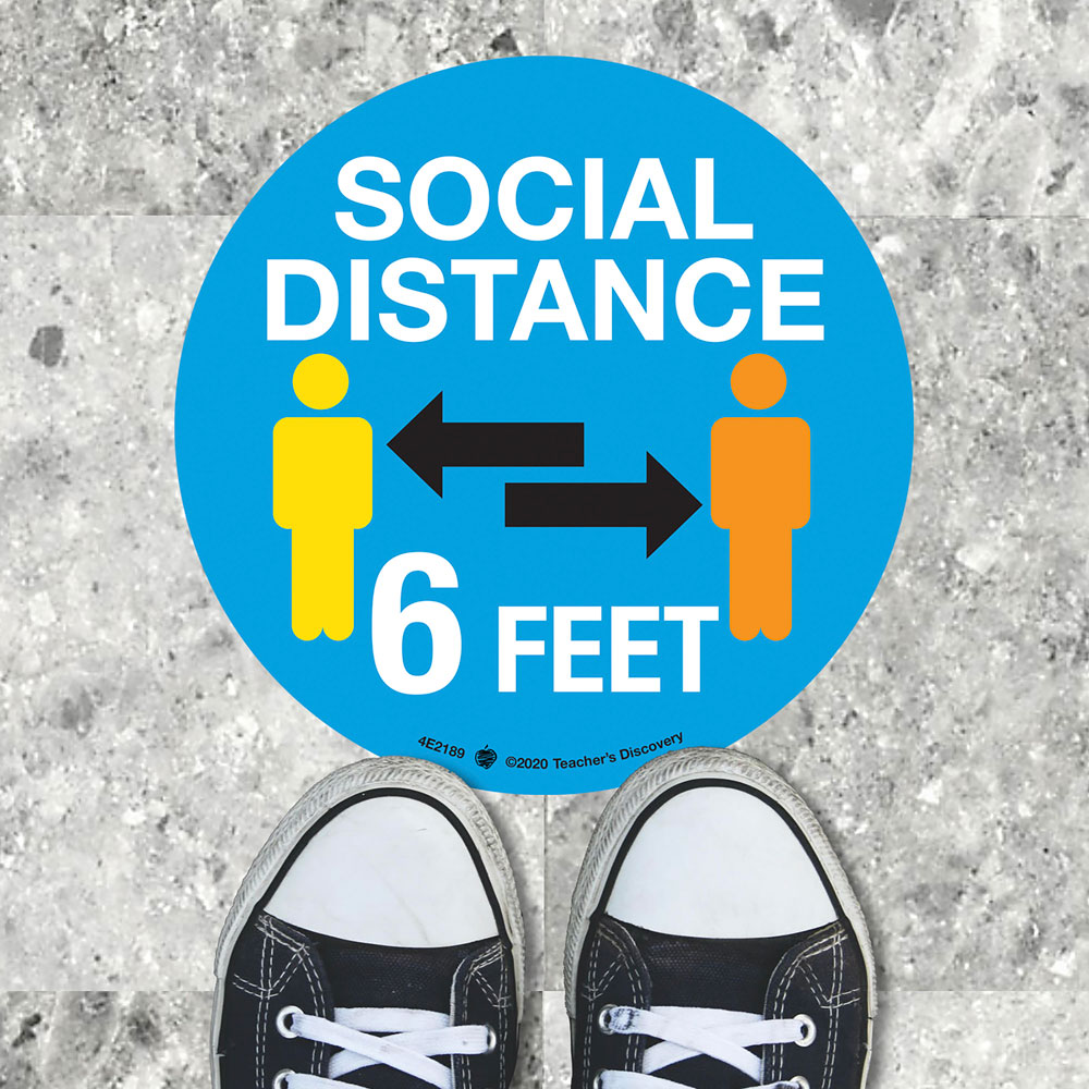 Social Distance Floor Sticker - Set of 8 Stickers in ENGLISH