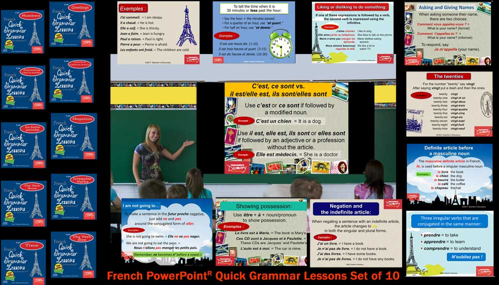French Quick™ Grammar Lessons Set of 10 PowerPoint® Presentations