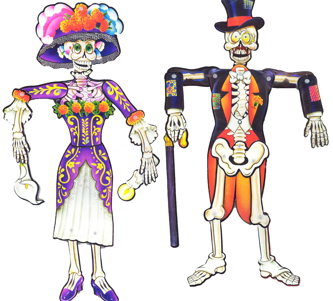Day of the Dead Jointed Paper Dolls - Set of 2