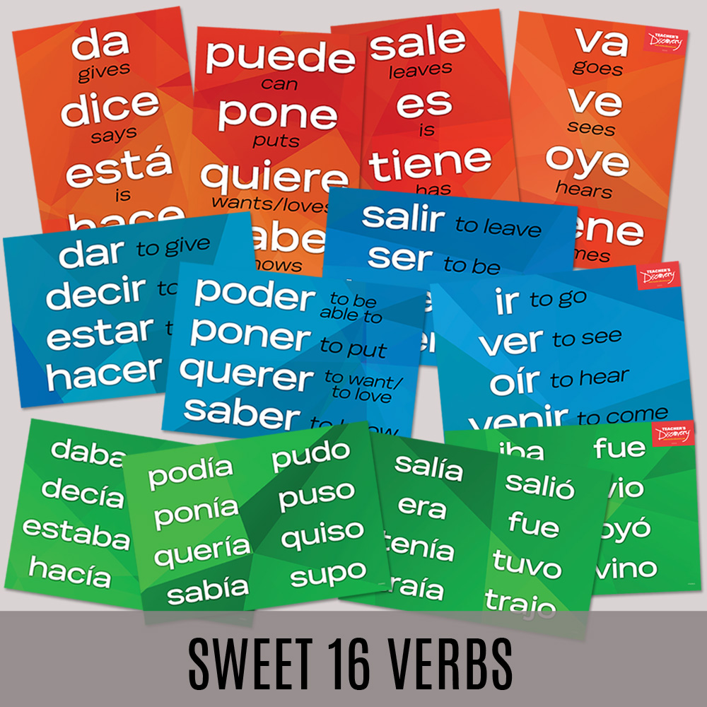 Sweet 16 spanish verbs posters set of 12 spanish teacher for Farcical in spanish