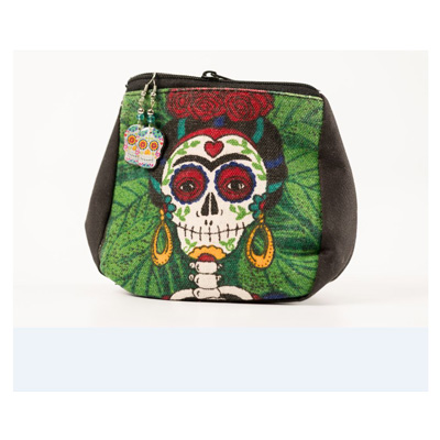 Skull Earrings and Day of the Dead Canvas Coin Purse Set