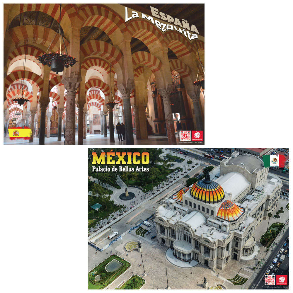 México and España Enhanced™ Poster Set of 2