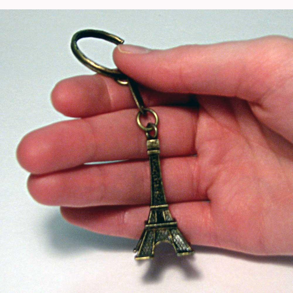 3D Eiffel Tower Bronze Keychain