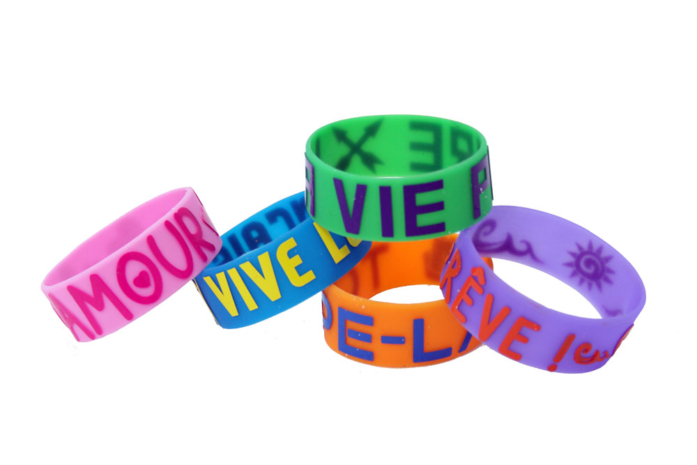Glow-in-the-Dark French Wristbands Set of  40
