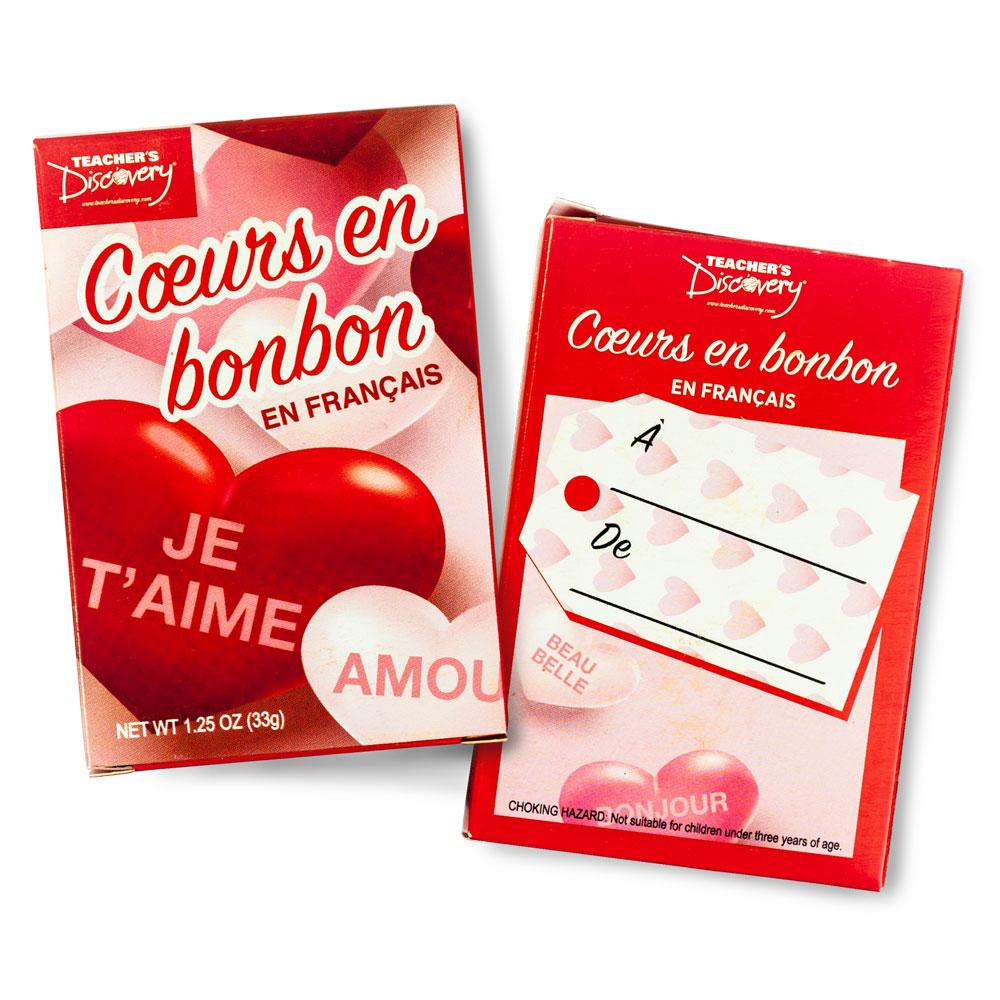 Cœurs en bonbon en français