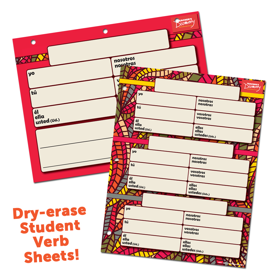 Dry-erase Spanish Verb Sheets