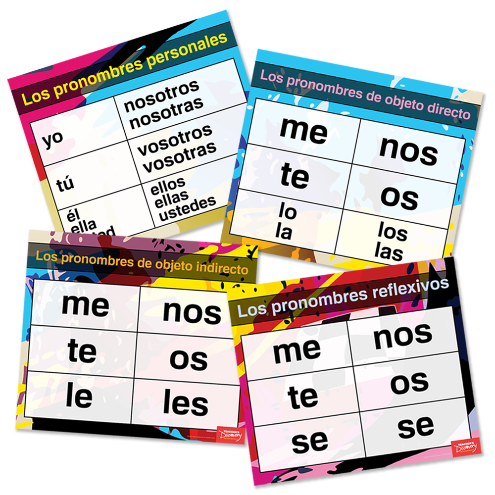 """Pronouns Pro"" Spanish Charts (Set of 4)"