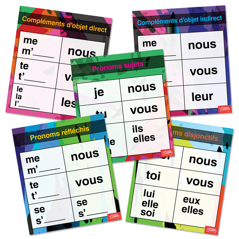 Pronouns Pro French Charts Set of 5