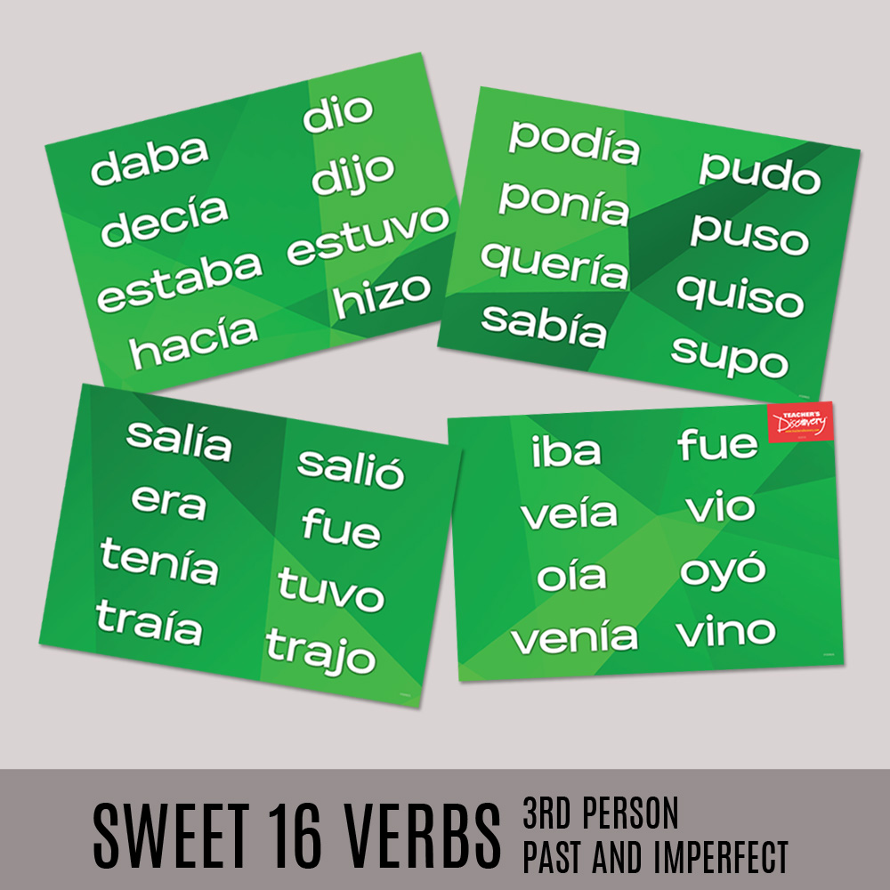 Sweet 16 Third Person Past and Imperfect Spanish Posters—Set of 4